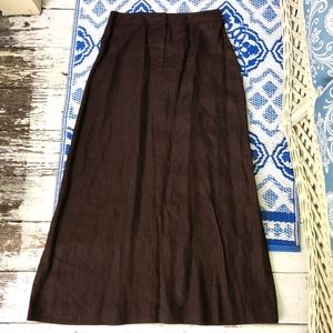 APOSTROPHE long A-line 100% linen brown skirt